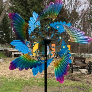 Kinetic Feathered Metal Sculpture