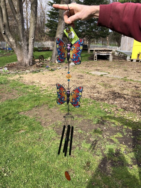 Glass and Metal Butterfly Windchime