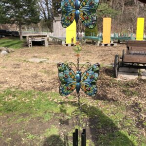 Glass and Metal Butterfly Windchime-blue