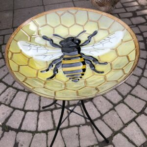 Honey Bee Birdbath with stand