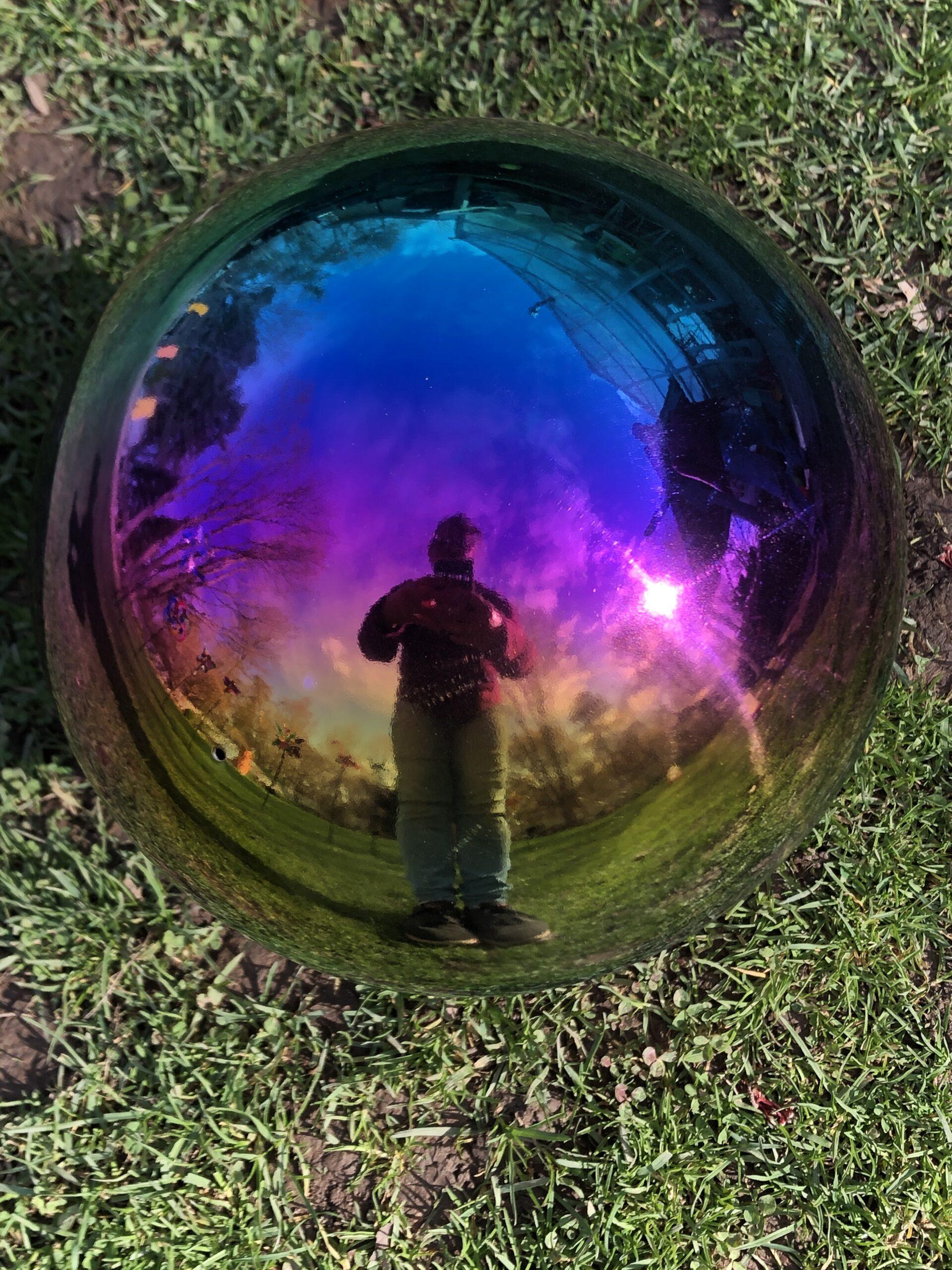 Stainless Steel Gazing Ball Ballantyne Gardens